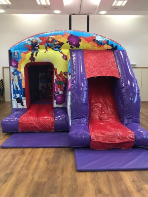 Superheros Bouncy Castle with Front Slide